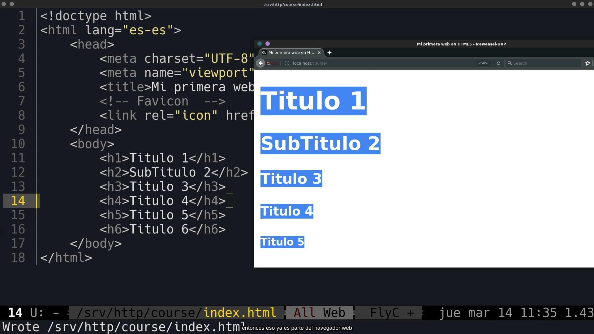 Títulos en HTML5