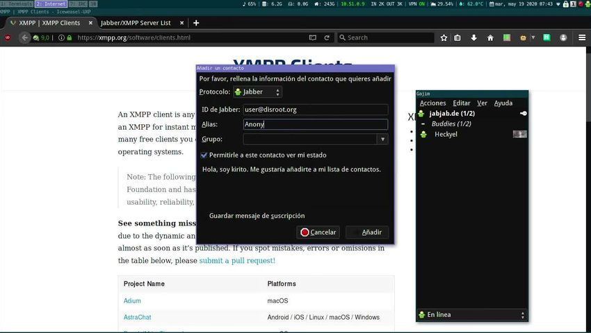 Usar cuenta Jabber/XMPP